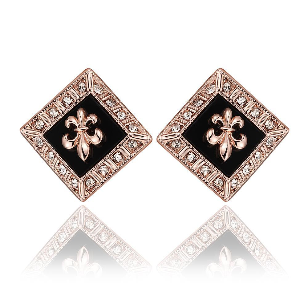 Vienna Jewelry 18K Rose Gold Diamond Shaped Emblem Input Stud Earrings Made with Swarovksi Elements
