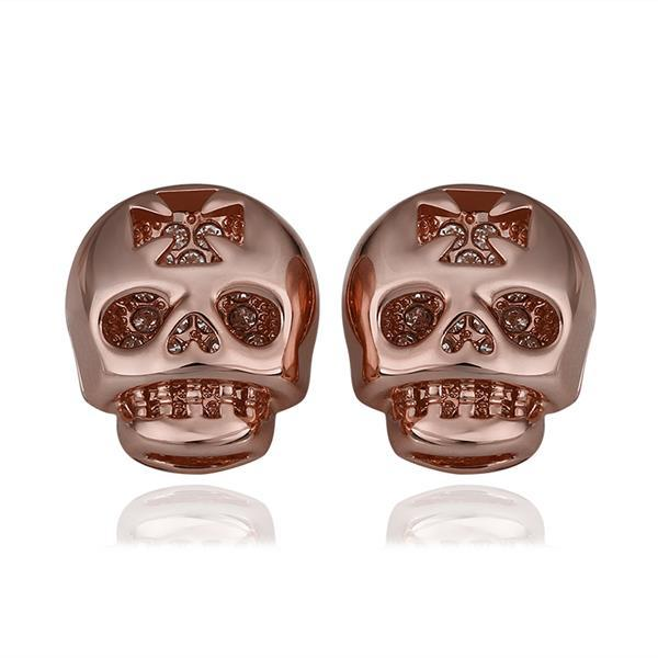 Vienna Jewelry 18K Rose Gold Skull Shaped Stud Earrings Made with Swarovksi Elements