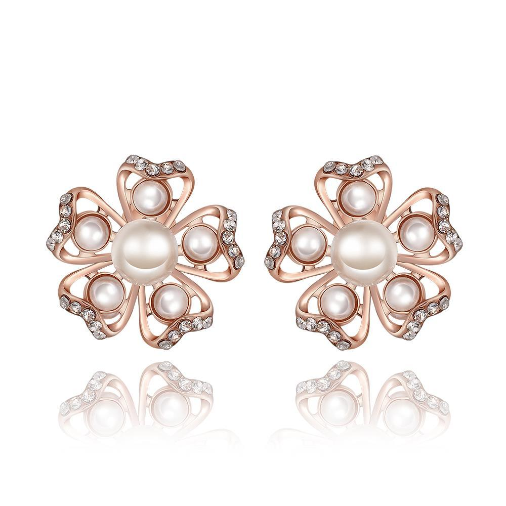 Vienna Jewelry 18K Rose Gold Snowflakes with Pearls Stud Earrings Made with Swarovksi Elements