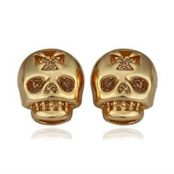 Vienna Jewelry 18K Gold Skull Shaped Stud Earrings Made with Swarovksi Elements - Thumbnail 0