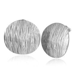 Vienna Jewelry 18K White Gold Curved Surface Stud Earrings Made with Swarovksi Elements - Thumbnail 0