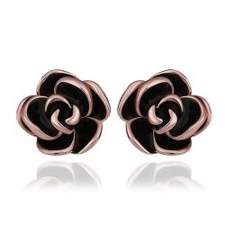 Vienna Jewelry 18K Rose Gold Floral Petals with Onyx Inlay Made with Swarovksi Elements