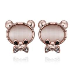 Vienna Jewelry 18K Rose Gold Large Teddy Bear Stud Earrings Made with Swarovksi Elements - Thumbnail 0