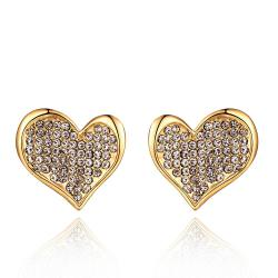 Vienna Jewelry 18K Gold Petite Heart Shaped Earrings Covered with Jewels Made with Swarovksi Elements - Thumbnail 0