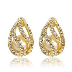 Vienna Jewelry 18K Gold Hollow Emblem Stud Earrings Made with Swarovksi Elements
