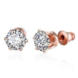 Vienna Jewelry Rose Gold Plated Diamond 4CT Studs - Thumbnail 0