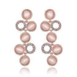 Vienna Jewelry 18K Rose Gold Petite Dangling Drop Down Earrings Made with Swarovksi Elements