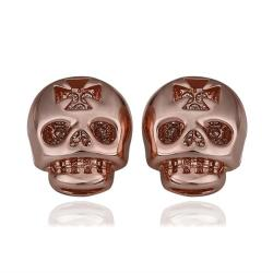 Vienna Jewelry 18K Rose Gold Skull Shaped Stud Earrings Made with Swarovksi Elements - Thumbnail 0