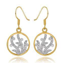Vienna Jewelry 18K Gold Circular Tree Branch Drop Down Earrings Made with Swarovksi Elements - Thumbnail 0