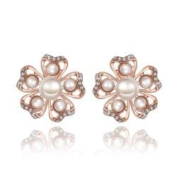 Vienna Jewelry 18K Rose Gold Snowflakes with Pearls Stud Earrings Made with Swarovksi Elements - Thumbnail 0