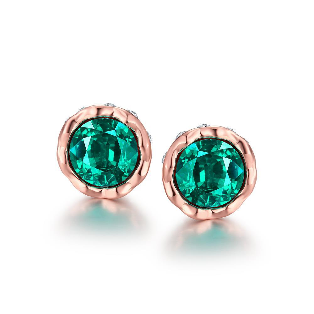 Vienna Jewelry 18K Gold Plated Gemstone Bullet Studs
