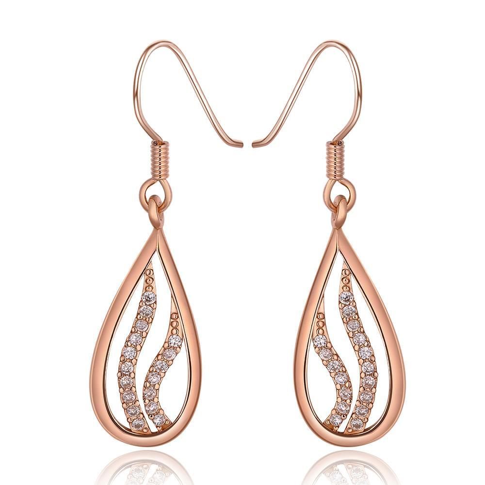 Vienna Jewelry 18K Rose Gold Drop Down Earrings with Crystal Jewels Inline Made with Swarovksi Elements