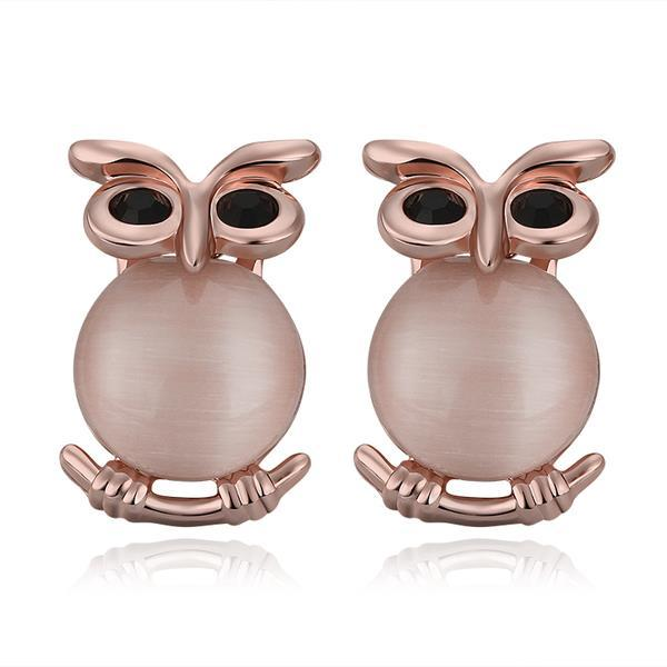 Vienna Jewelry 18K Rose Gold Owl Shaped Stud Earrings Made with Swarovksi Elements
