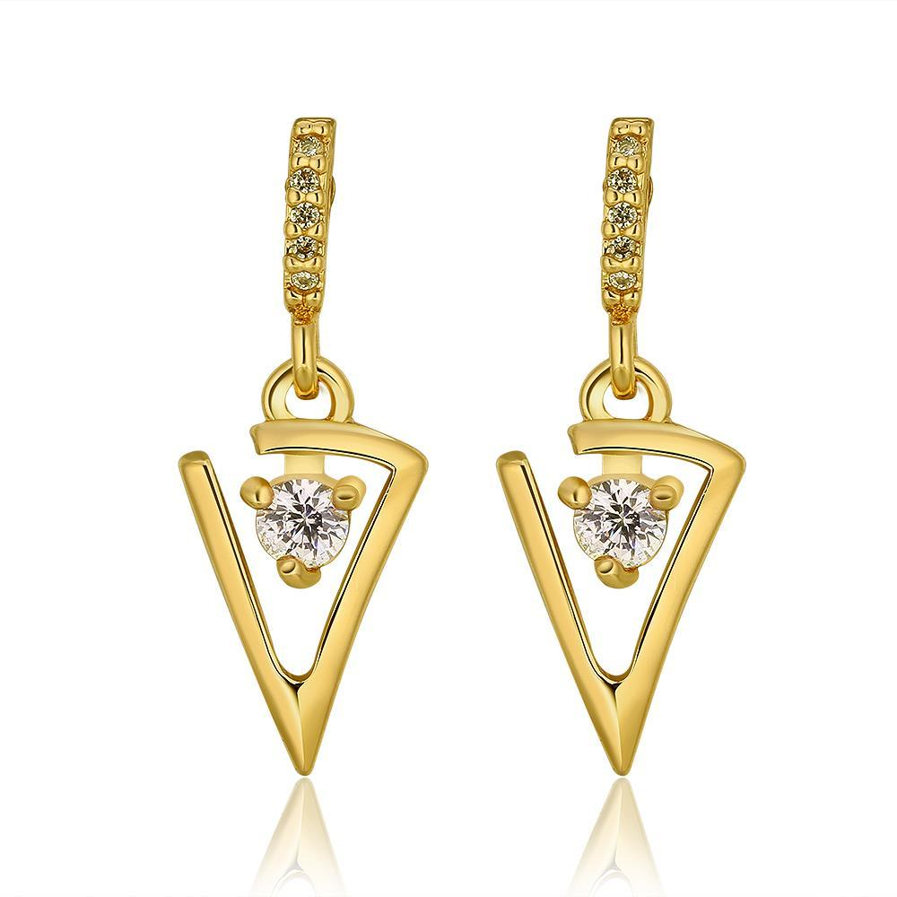 Vienna Jewelry 18K Gold Petite Triangular Drop Down Earrings Made with Swarovksi Elements