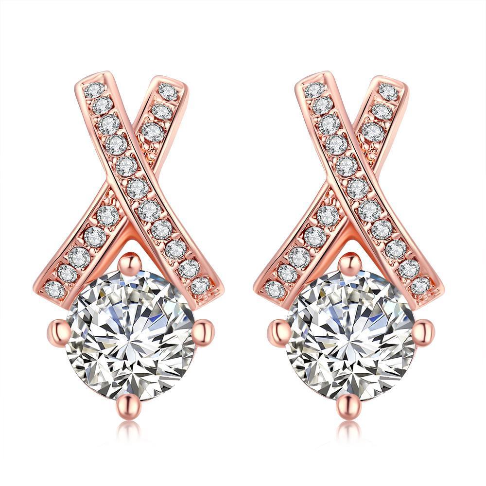 Vienna Jewelry 18K Rose Gold Plated Diamond Earring
