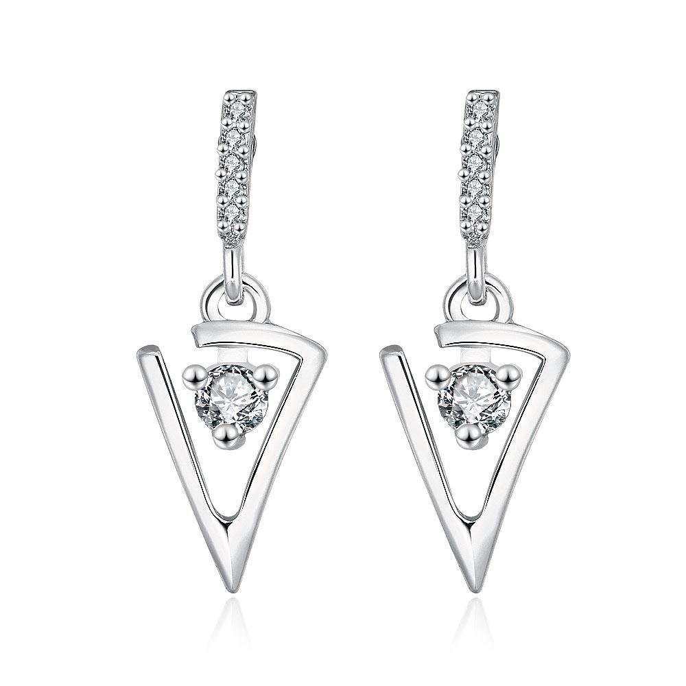 Vienna Jewelry 18K White Gold Petite Triangular Drop Down Earrings Made with Swarovksi Elements