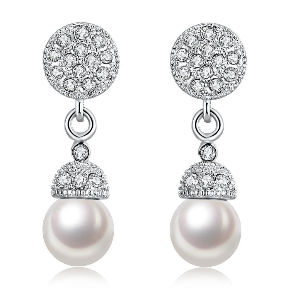 Vienna Jewelry 18K White Gold Plated Pearl Drop Earrings
