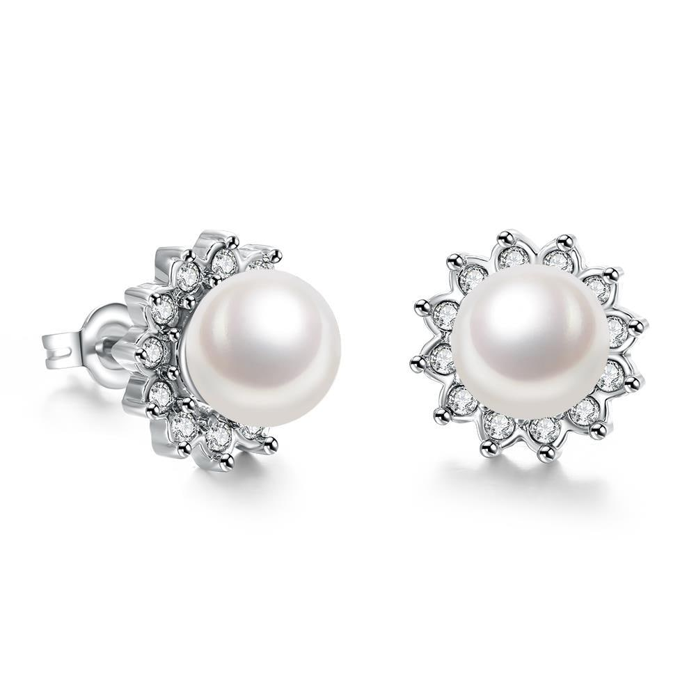 Vienna Jewelry 18K White Gold Plated Pearl Star Studded Earrings