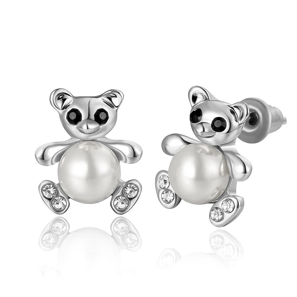 Vienna Jewelry 18K White Gold Mini Petite Teddy Bear Stud Earrings Made with Swarovksi Elements