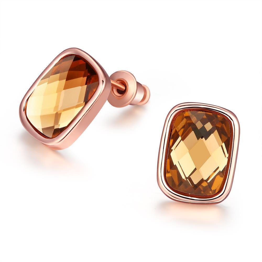 Vienna Jewelry 18K Italian Rosegold Citrine Gemstone Stud Earring