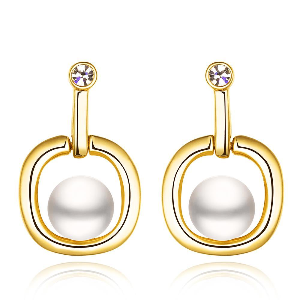 Vienna Jewelry 18K Gold Abstract Shaped Drop Down Earrings Made with Swarovksi Elements