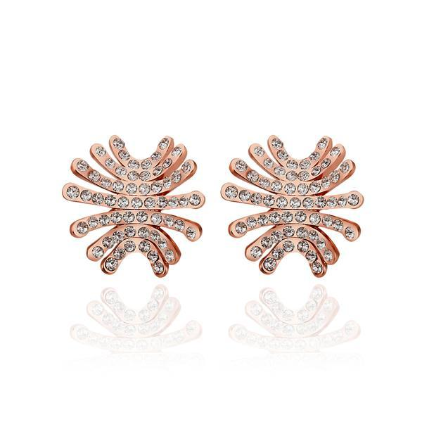 Vienna Jewelry 18K Rose Gold Spiky Studs Covered with Jewels Made with Swarovksi Elements