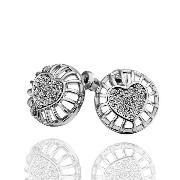 Vienna Jewelry 18K White Gold Stud Earrings with Heart Shaped Placing Made with Swarovksi Elements