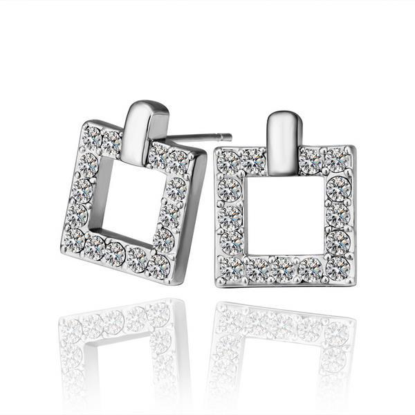 Vienna Jewelry 18K White Gold Square Stud Earrings Covered with Crystal Jewels Made with Swarovksi Elements