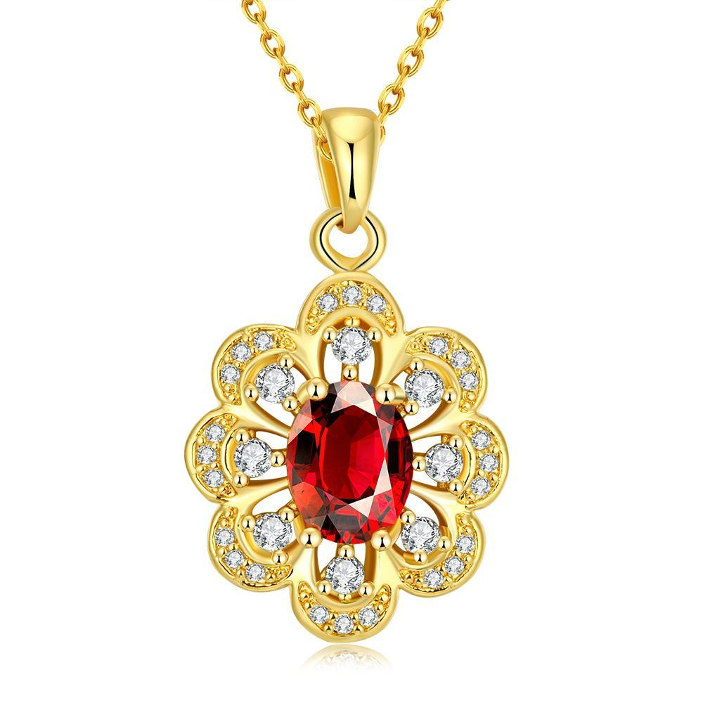 Vienna Jewelry Gold Plated Circular Ruby Necklace