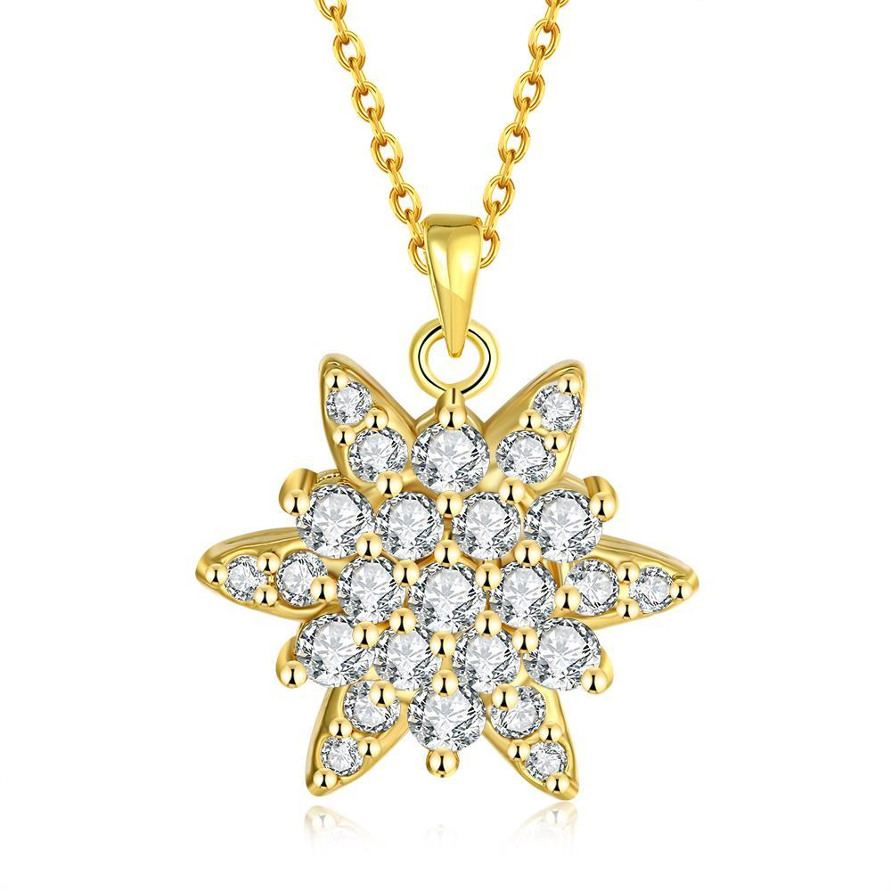 Vienna Jewelry Gold Plated Crystal Filled Snowflake Necklace