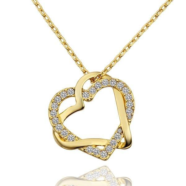Vienna Jewelry Gold Plated Double Hearts Emblem Necklace