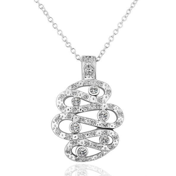 Vienna Jewelry White Gold Plated Drop Spiral Necklace