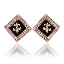 Vienna Jewelry 18K Rose Gold Diamond Shaped Emblem Input Stud Earrings Made with Swarovksi Elements - Thumbnail 0