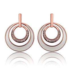 Vienna Jewelry 18K Rose Gold Ivory Layering Spiral Circle Earrings Made with Swarovksi Elements - Thumbnail 0