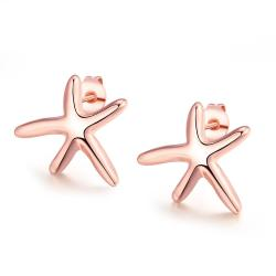 Vienna Jewelry 18K Rose Gold Plated Starfish Studded Earring - Thumbnail 0