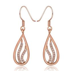 Vienna Jewelry 18K Rose Gold Drop Down Earrings with Crystal Jewels Inline Made with Swarovksi Elements - Thumbnail 0