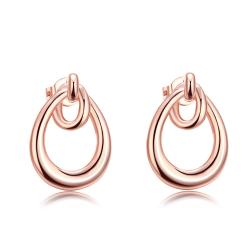 Vienna Jewelry 18K Rose Gold Plated Double Hoop Studded Earrings - Thumbnail 0