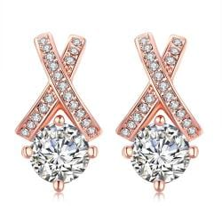 Vienna Jewelry 18K Rose Gold Plated Diamond Earring