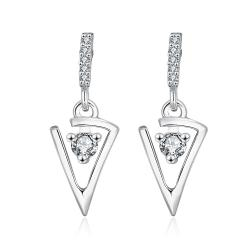 Vienna Jewelry 18K White Gold Petite Triangular Drop Down Earrings Made with Swarovksi Elements - Thumbnail 0