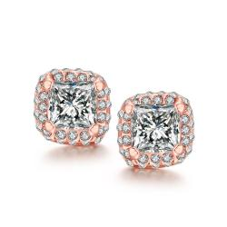 Vienna Jewelry White Topaz Diamond Simulated Studs 18K Rose Gold