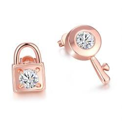 Vienna Jewelry Gold Plated Key to your Lock Studded Earrings - Thumbnail 0
