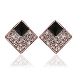 Vienna Jewelry 18K Rose Gold Diamond Shaped Stud Earrings with Onyx Layering Made with Swarovksi Elements - Thumbnail 0