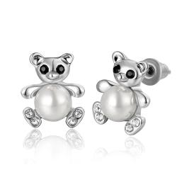 Vienna Jewelry 18K White Gold Mini Petite Teddy Bear Stud Earrings Made with Swarovksi Elements - Thumbnail 0