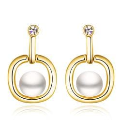 Vienna Jewelry 18K Gold Abstract Shaped Drop Down Earrings Made with Swarovksi Elements - Thumbnail 0