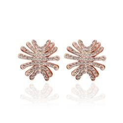 Vienna Jewelry 18K Rose Gold Spiky Studs Covered with Jewels Made with Swarovksi Elements - Thumbnail 0
