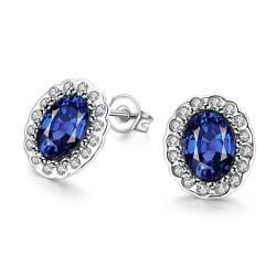 Vienna Jewelry Sapphire Studded Earrings - Thumbnail 0