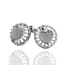 Vienna Jewelry 18K White Gold Stud Earrings with Heart Shaped Placing Made with Swarovksi Elements - Thumbnail 0