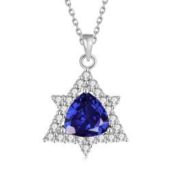 Vienna Jewelry White Gold Plated Mini Star Saphire Necklace - Thumbnail 0