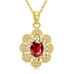 Vienna Jewelry Gold Plated Circular Ruby Necklace - Thumbnail 0