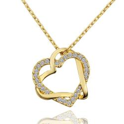 Vienna Jewelry Gold Plated Double Hearts Emblem Necklace - Thumbnail 0